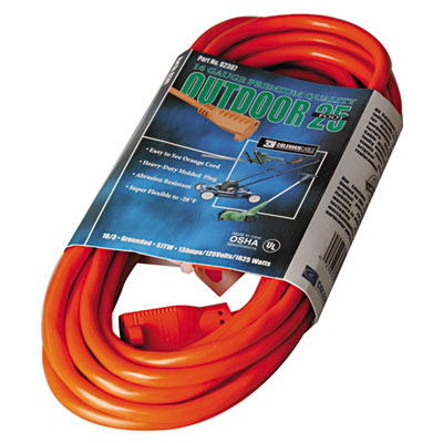 Vinyl outdoor extension cord, 25ft, 13 amp, orange, sold as 1 each