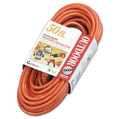 Vinyl outdoor extension cord, 50ft, three-outlets, orange, sold as 1 each