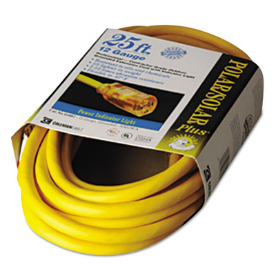 Polar/solar indoor-outdoor extension cord with lighted end, 25ft, yellow, sold as 1 each