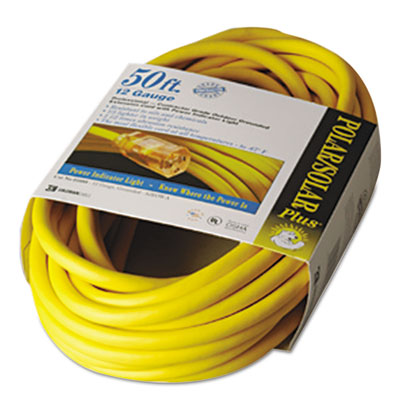 Polar/solar indoor-outdoor extension cord with lighted end, 50ft, yellow, sold as 1 each