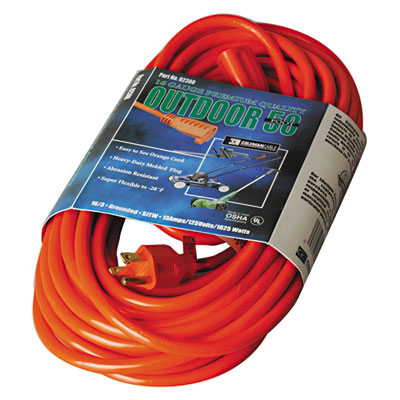 Vinyl outdoor extension cord, 50ft, 13 amp, orange, sold as 1 each