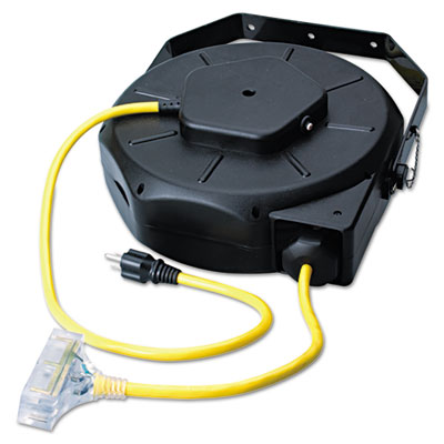 Retractable industrial extension cord reel, 50ft, yellow/black, sold as 1 each