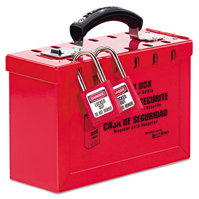 Latch tight portable lock box, red, sold as 1 each