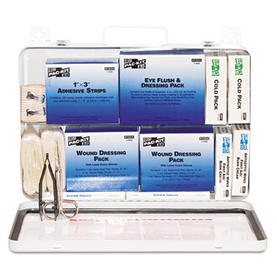 50-person industrial first aid kit, steel case, weatherproof, sold as 1 kit