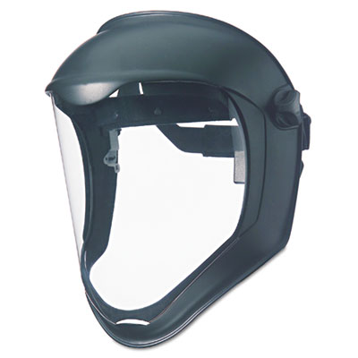 Bionic face shield, matte black frame, clear lens, sold as 1 each