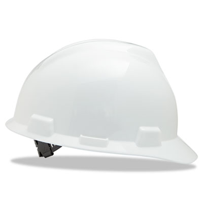 V-gard hard hats, staz-on pin-lock suspension, size 6 1/2 - 8, white, sold as 1 each