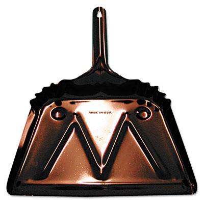 Metal dust pan, 12in edge, black, sold as 1 each