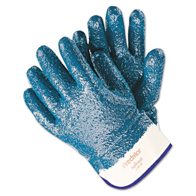 Predator premium nitrile-coated gloves, blue/white, large, 12 pairs, sold as 1 dozen