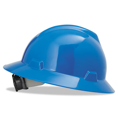 V-gard hard hats, fas-trac ratchet suspension, size 6 1/2 - 8, blue, sold as 1 each