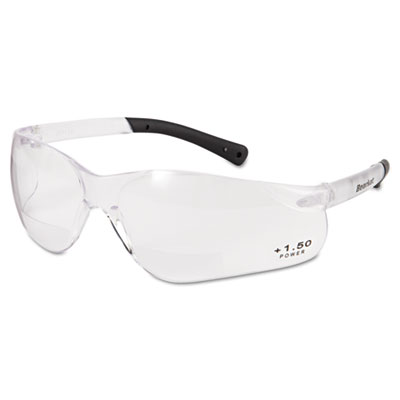 Bearkat magnifier safety glasses, clear frame, clear lens, sold as 1 each