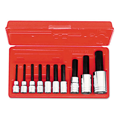 "10-piece hex-bit socket set, metric, 3/8"""" drive, 1/2"""" drive, 4mm to 17mm, sold as 10 each"