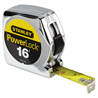 "Powerlock tape rule, 3/4"""" x 16ft, plastic case, chrome, 1/32"""" graduation, sold as 1 each"