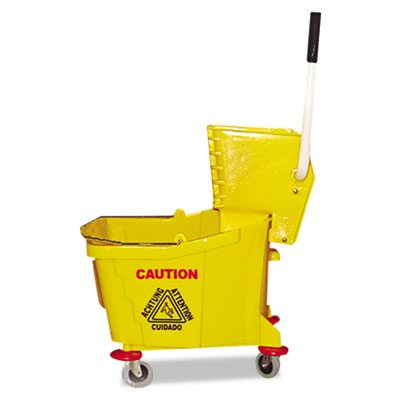 Mop bucket/wringer combo, plastic, yellow, sold as 1 each