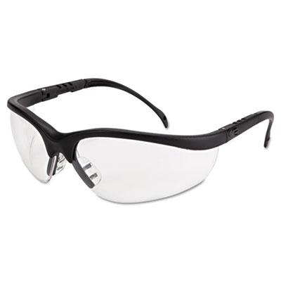 Klondike safety glasses, matte black frame, clear lens, sold as 1 each