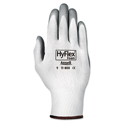 Hyflex foam gloves, white/gray, size 8, 12 pairs, sold as 12 pair