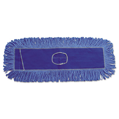 Mop head, dust, looped-end, cotton/synthetic fibers, 18 x 5, blue, sold as 1 each