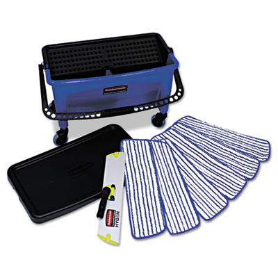 Microfiber floor finishing system, 27gal, blue/black/white, sold as 1 each