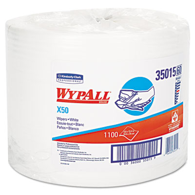 X50 wipers, 9 4/5 x 13 2/5, white, 1100/roll, sold as 1 roll