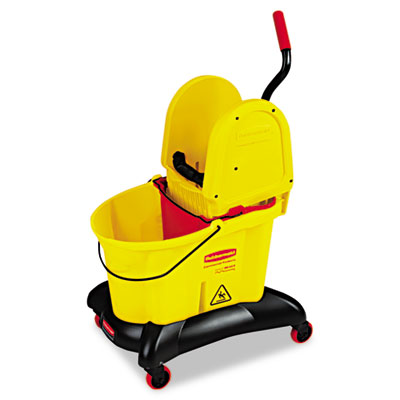 Wavebrake dual-water down-press bucket/wringer combo, 8.75gal, yellow, sold as 1 each