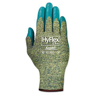 Hyflex 501 medium-duty gloves, size 8, kevlar/nitrile, blue/green, 12 pairs, sold as 12 each