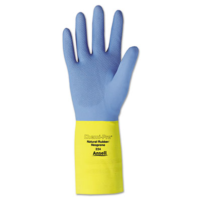 Chemi-pro neoprene gloves, blue/yellow, size 10, 12 pairs, sold as 12 pair