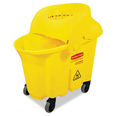 Wavebrake institutional bucket/strainer combo, 8.75gal, yellow, sold as 1 each