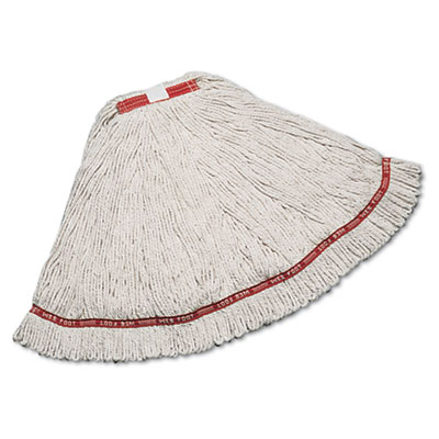 "Web foot wet mop, cotton/synthetic, white, large, 1"" red headband, 6/carton, sold as 1 carton, 6 each per carton"