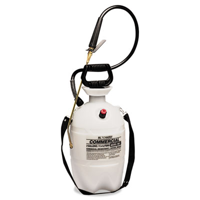 Commercial-grade sprayer w/flat fan nozzle, 3 gallon, polyethylene, white/black, sold as 1 each