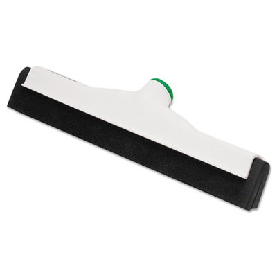 Sanitary standard floor squeegee, 18 inch blade, white plastic/black rubber, sold as 1 each