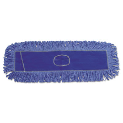 Mop head, dust, looped-end, cotton/synthetic fibers, 24 x 5, blue, sold as 1 each