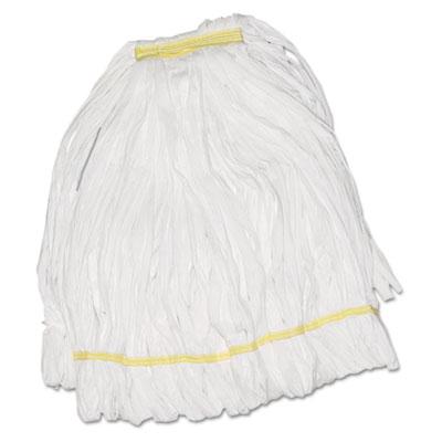 Mop head, looped, enviro clean with tailband, large, white, 12/carton, sold as 1 carton, 12 each per carton