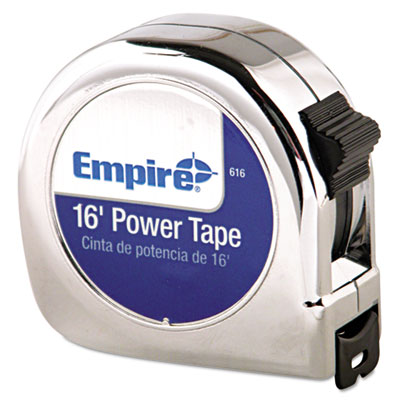 "Power tape measure, 3/4"""" x 16ft, metal case, chrome, 1/16"""" graduation, sold as 1 each"