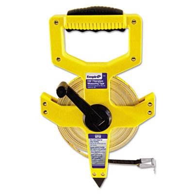 "Open-reel fiberglass measuring tape,1/2""""x100ft, yellow/white blade, yellow case, sold as 1 each"