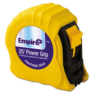 Power grip steel tape measure, 1in x 25ft, yellow, sold as 1 each