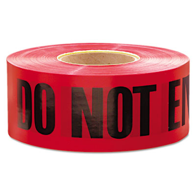 "Do not enter"""" barricade tape, 3"""" x 1000 ft, """"do not enter"""" text, red/black, sold as 1 roll"