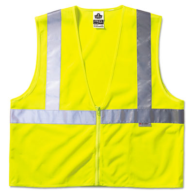 Glowear class 2 standard vest, lime, mesh, zip, sold as 1 each