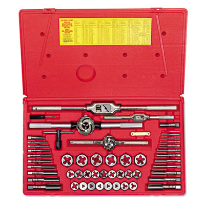 Hanson tap & die set, steel, 53 pieces, sold as 54 each