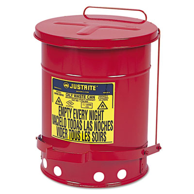 Oily waste can, 6gal, red, sold as 1 each