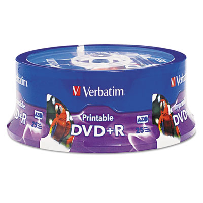 Dvd+r, 4.7gb, 16x, white inkjet printable, hub printable, 25/pk spindle, sold as 1 package