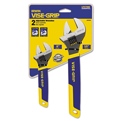 "Two-piece adjustable wrench set, 6"""" and 10"""" long, sold as 2 each"