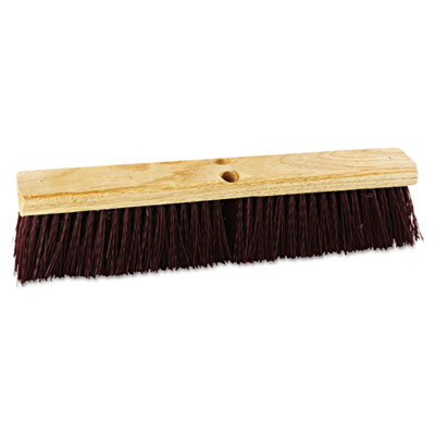 "Floor brush head, 18"" wide, maroon, heavy duty, polypropylene bristles, sold as 1 each"