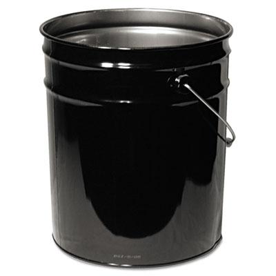 Open head steel pail, 5gal, black, unlined, sold as 1 each