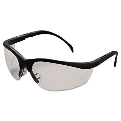 Klondike safety glasses, matte black frame, clear lens, sold as 1 box, 12 each per box