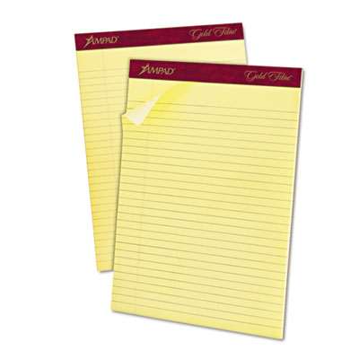 Gold fibre ruled pad, 8 1/2 x 11 3/4, canary, 50 sheets, dozen, sold as 1 dozen