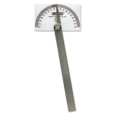 "Pivot-arm square-head steel protractor, 3 3/8"" x 2"" head, 6"" arm, sold as 1 each"