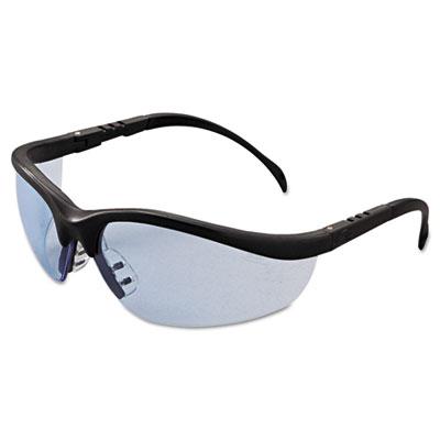 Klondike safety glasses, matte black frame, light blue lens, sold as 1 each