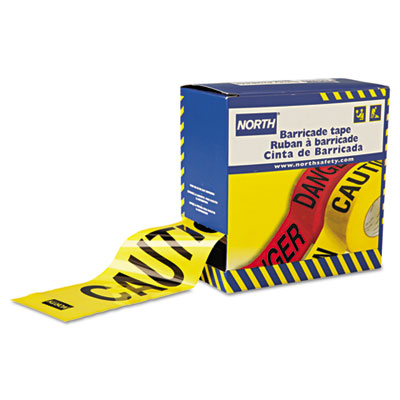 "Barricade tape, 3"""" x 1000 ft, """"caution"""" text, yellow/black, sold as 1 roll"