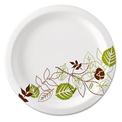"Pathways soak-proof shield mediumweight paper plates, 8 1/2"", grn/burg, 125/pk, sold as 1 package"