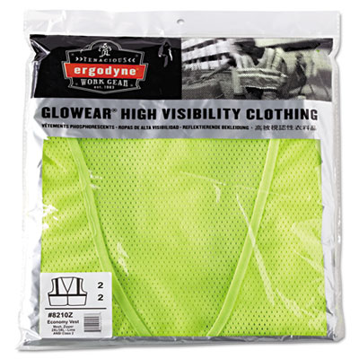Glowear 8210z class 2 economy vest, polyester mesh, zipper closure, lime, 2l/3xl, sold as 1 each