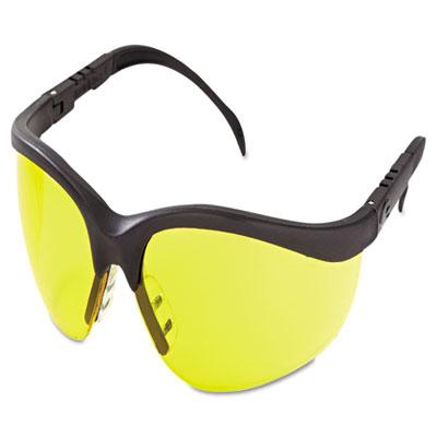 Klondike protective eyewear, black frame, amber lens, sold as 1 each